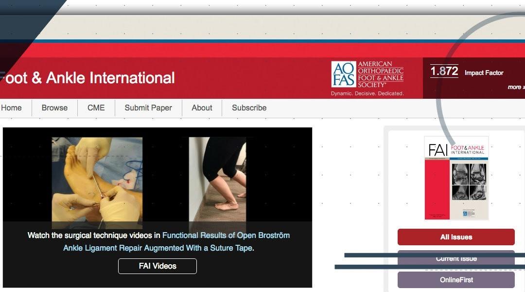 """La mia nuova pubblicazione sulla rivista scientifica """"Foot Ankle Int"""""""