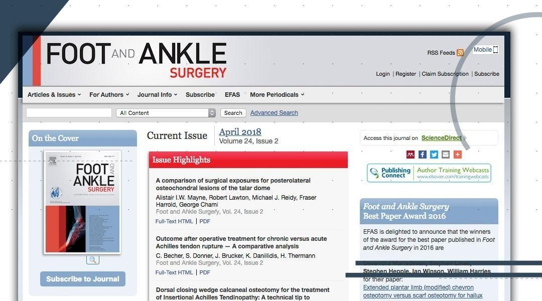 Foot and Ankle Surgery: in evidenza la nostra pubblicazione su learning curve e centri specializzati.